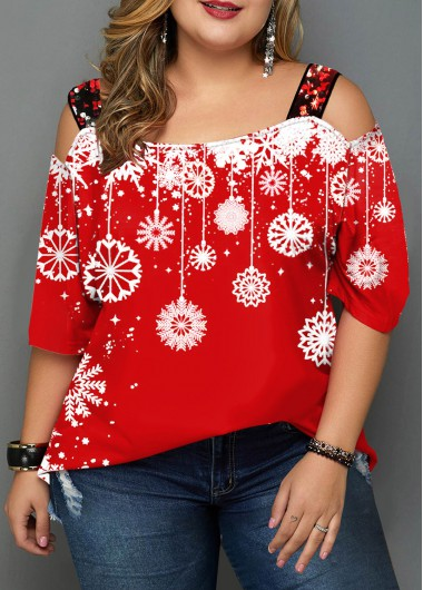 Sequin Detail Plus Size Snowflake Print T Shirt