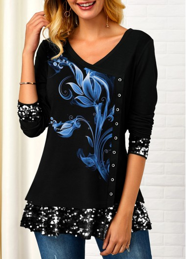 Women'S Black Sequin Detail Printed Inclined Button T Shirt V Neck Three Quarter Sleeve Tunic Casual Top By Rosewe - L