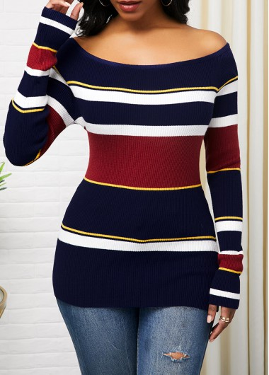 Women'S Color Block Boat Neck Long Sleeve Sheath Sweater Off The Shoulder Striped Casual Jumper By Rosewe - L