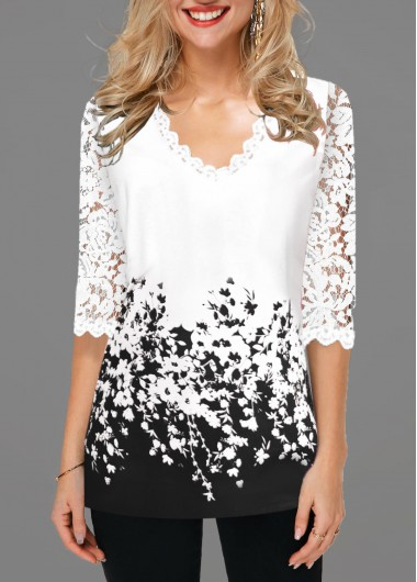 Women'S Black And White Floral Printed Three Quarter Sleeve Casual T Shirt Lace Detail Contrast Panel Tunic Top By Rosewe - L