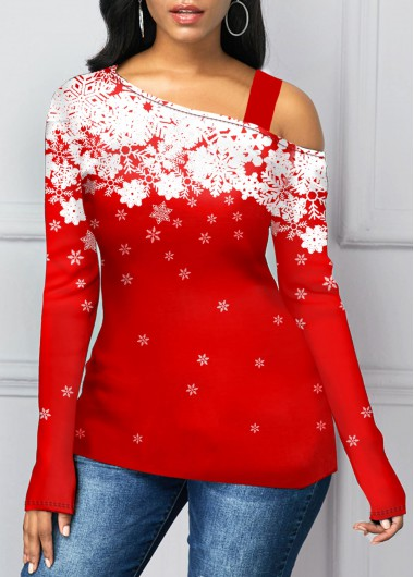 Women'S Red Snowflake Print Long Sleeve Strappy Holiday T Shirt Cold Shoulder Tunic Casual Top By Rosewe - L