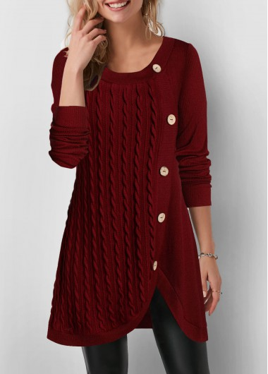 Women'S Wine Red Long Sleeve Pullover Tunic Longline Sweatshirt Solid Color Tulip Hem Inclined Button Twist Detail Casual Top By Rosewe - L