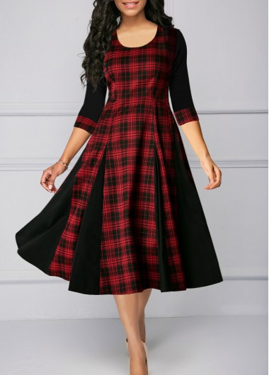 Women'S Red Plaid Print Three Quarter Sleeve A Line Casual Dress Round Neck High Waisted Midi Dress By Rosewe - M