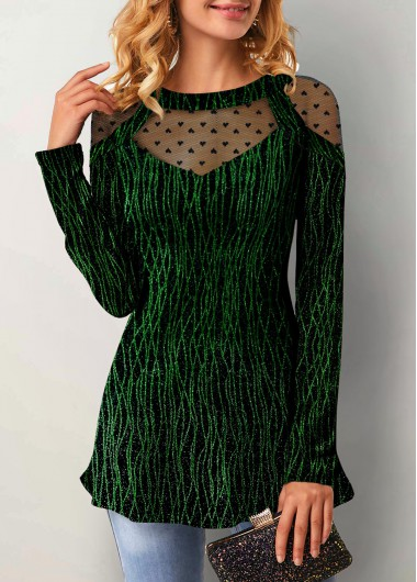 Women'S Dark Green Illusion Long Sleeve Holiday T Shirt  Keyhole Back Heart Print Tunic Casual Top By Rosewe - L