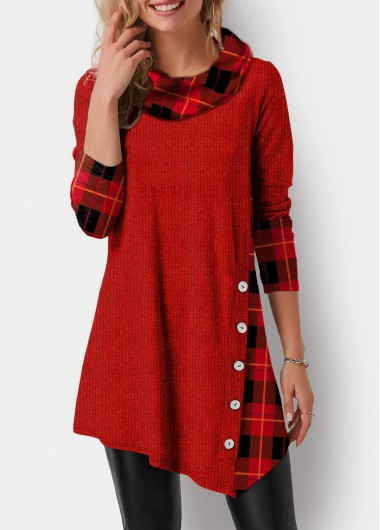 Women'S Red Plaid Print Cowl Neck Tunic Holiday T Shirt Xmas Solid Color Asymmetric Hem Long Sleeve Button Detail Casual Top By Rosewe - L