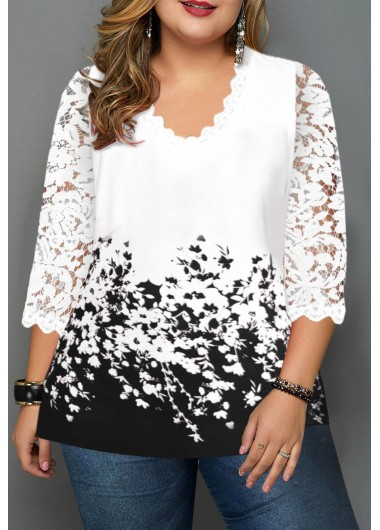 Women'S White Floral Print Plus Size Casual T Shirt Lace Panel V Neck Three Quarter Sleeve Tunic Top By Rosewe - 0X