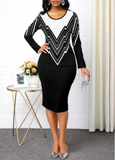 Women'S Black And White Long Sleeve Sheath Cocktail Party Dress Geometric Print Contrast Panel Midi Work Dress By Rosewe - L