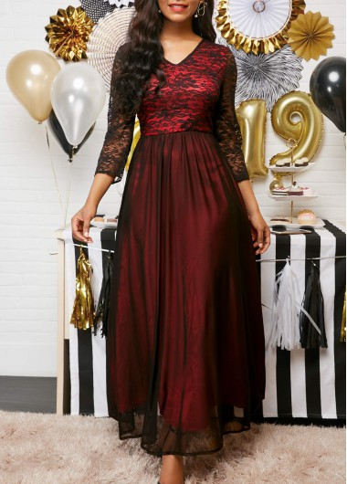 Women'S Red V Neck Mesh Panel Maxi Elegant Cocktail Party Holiday Dress Lace Detail Long Sleeve Dress By Rosewe - L