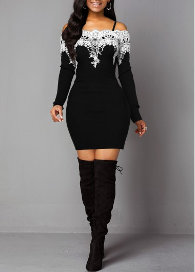 Women'S Black Off The Shoulder Contrast Panel Sheath Cocktail Party Dress Long Sleeve Mini Elegant Dress By Rosewe - XL