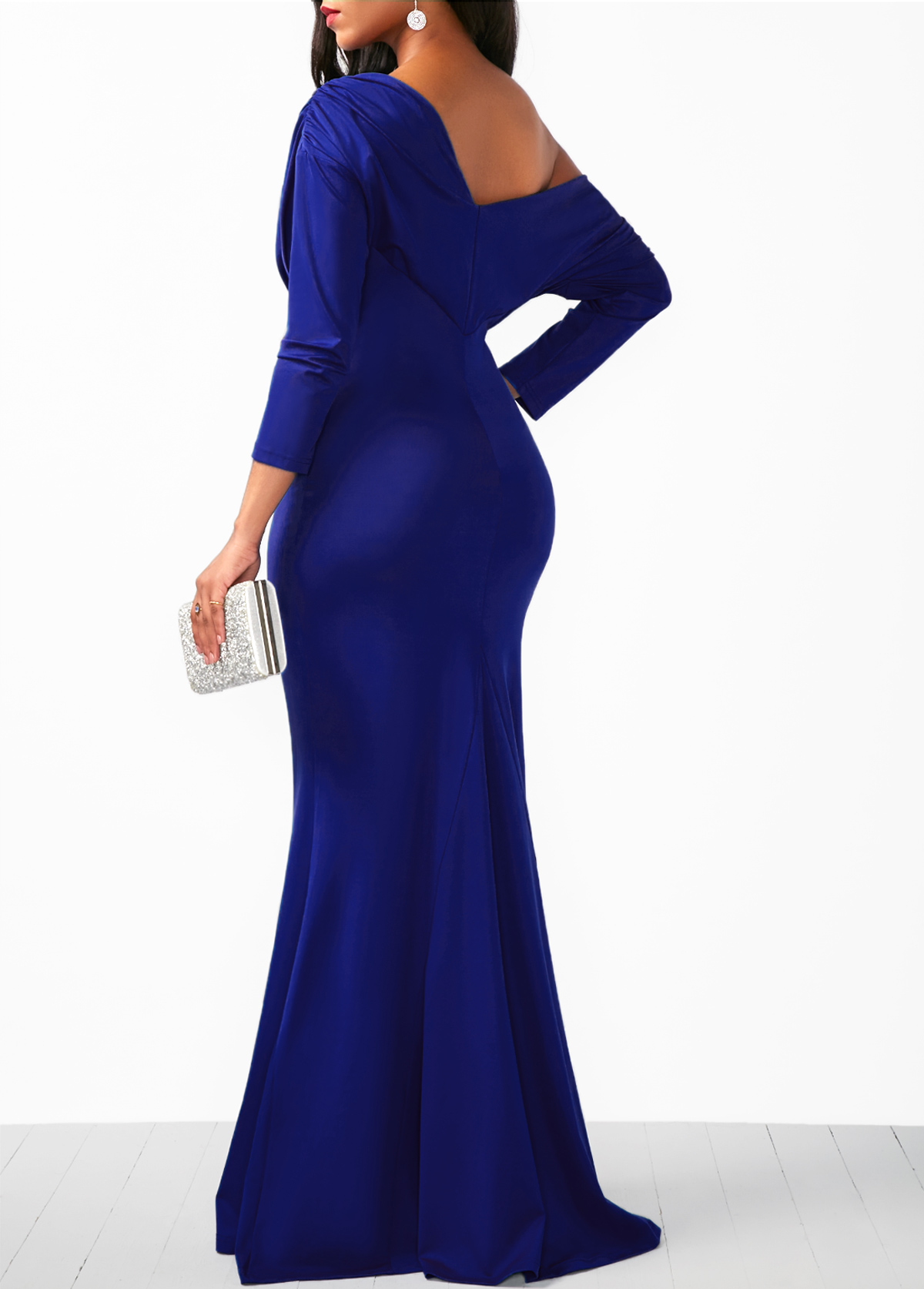 Skew Neck Draped Long Sleeve Mermaid Dress