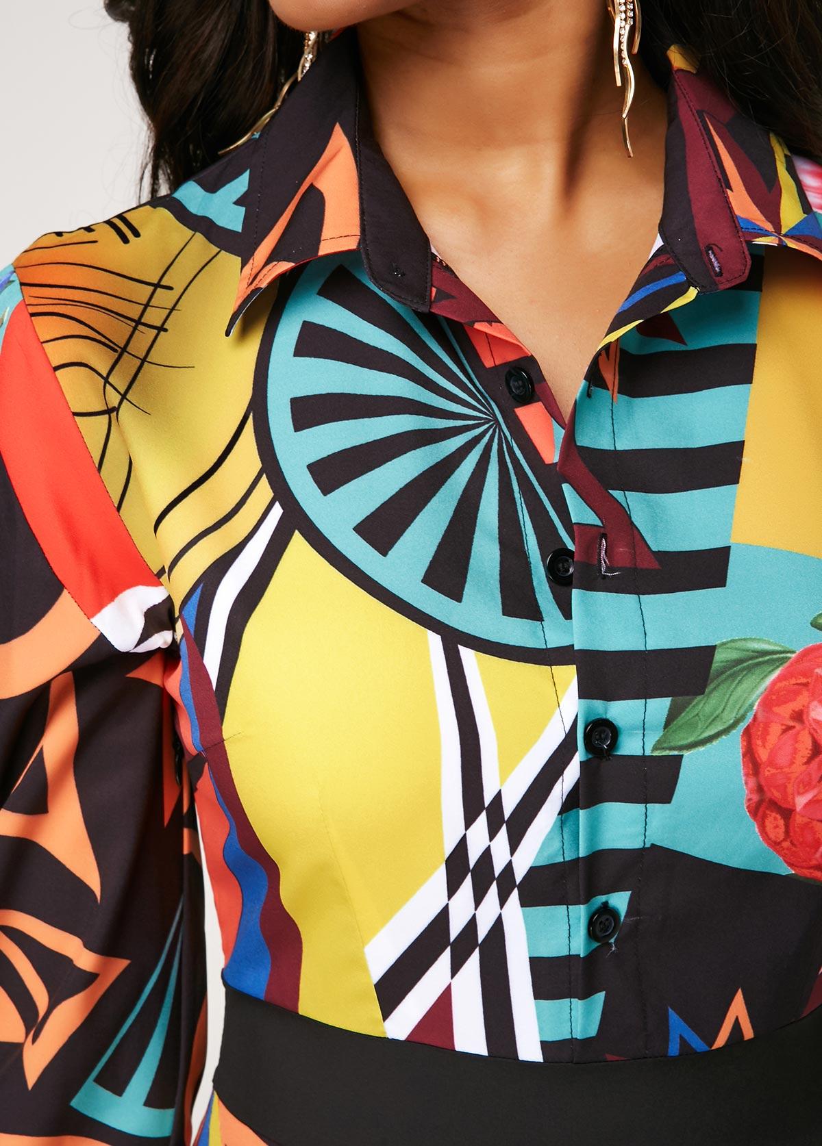 Printed Button Up Long Sleeve Turndown Collar Dress