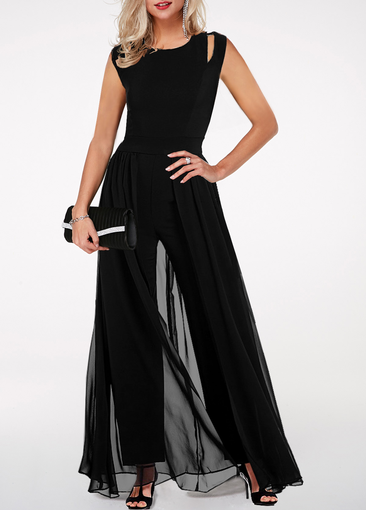 Black High Waist Round Neck Chiffon Overlay Jumpsuit