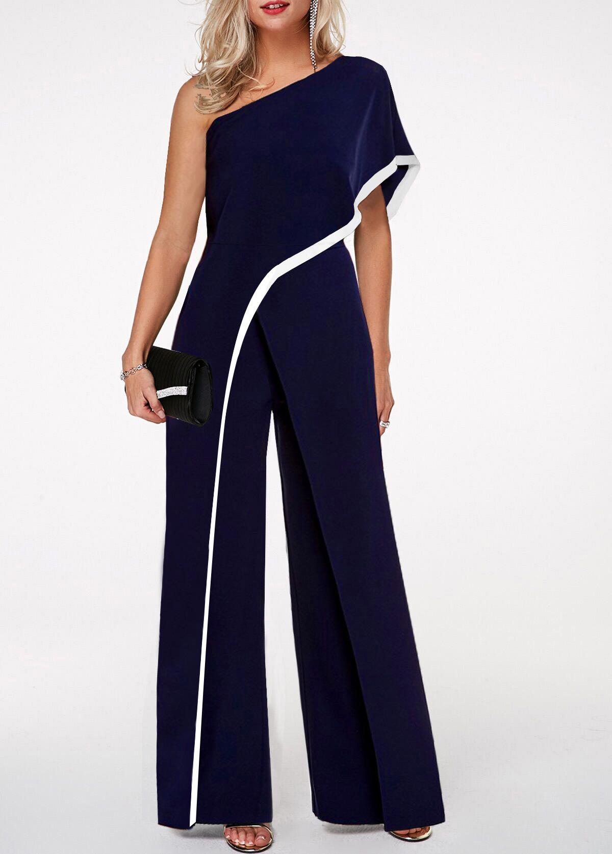 One Shoulder Navy Blue Contrast Trim Jumpsuit