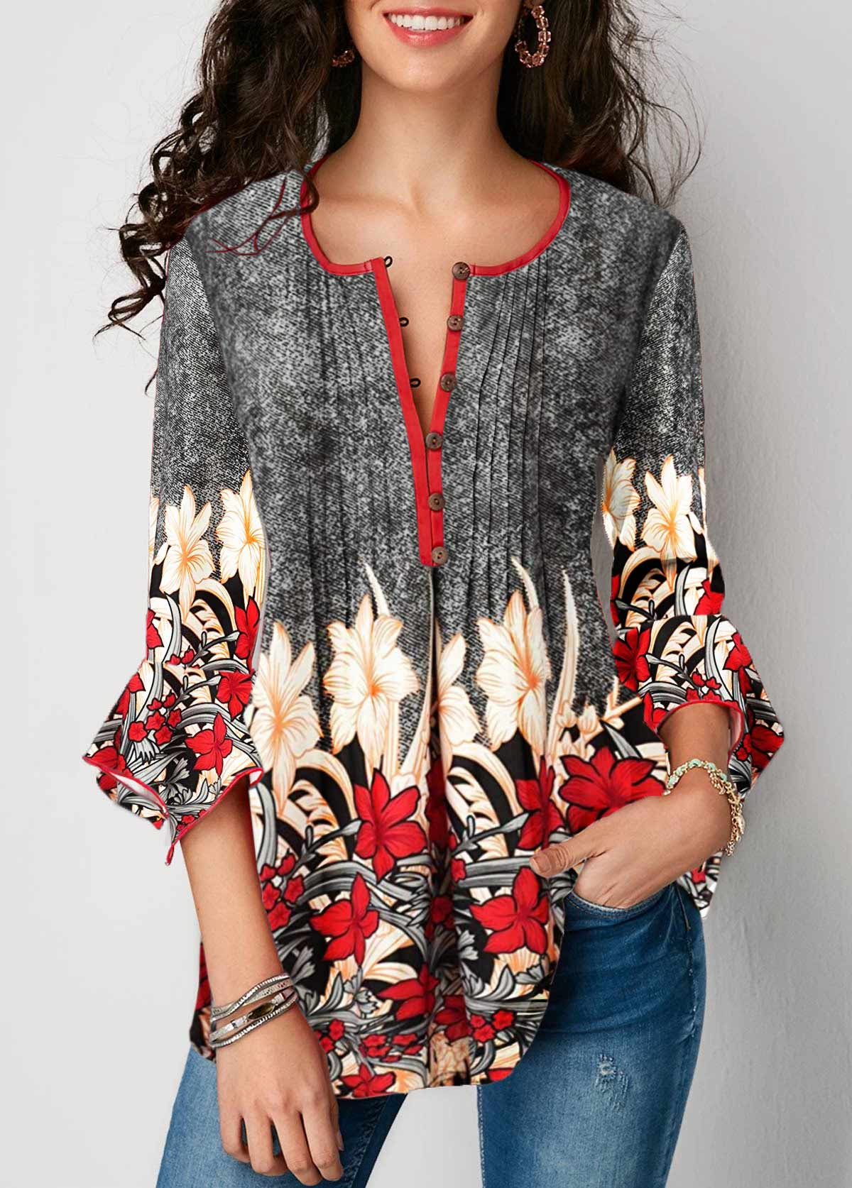 Printed Three Quarter Sleeve Button Up Pleated Blouse