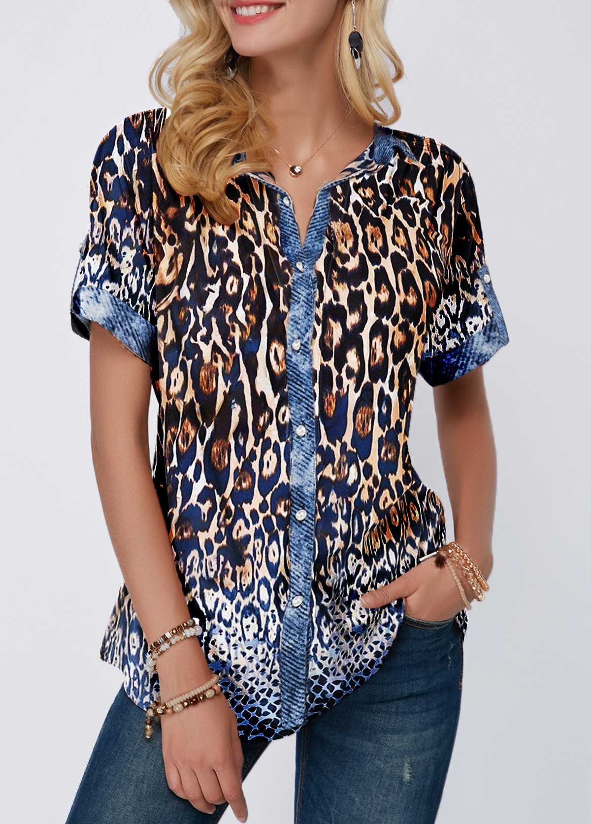 Button Front Leopard Print Turndown Collar Blouse