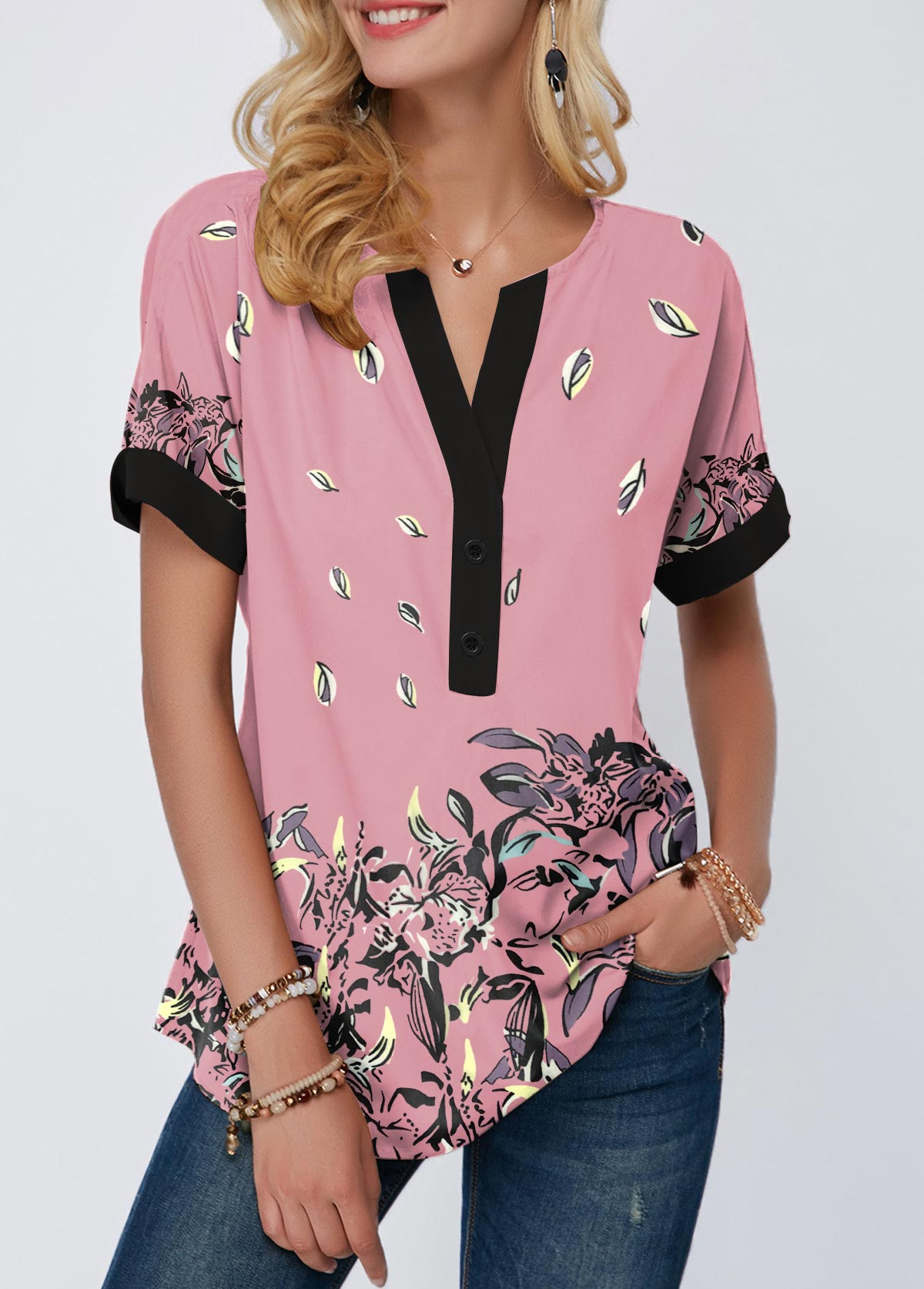 Notch Neck Floral Print Contrast Piping T Shirt