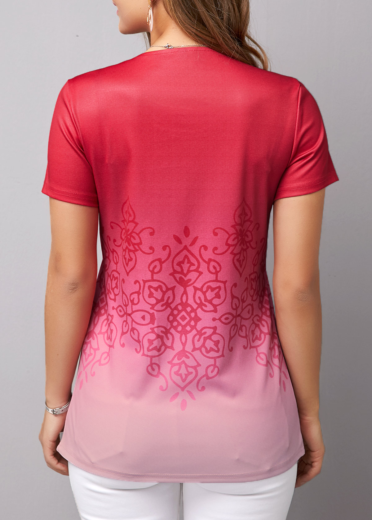 Crinkle Chest Round Neck Gradient T Shirt