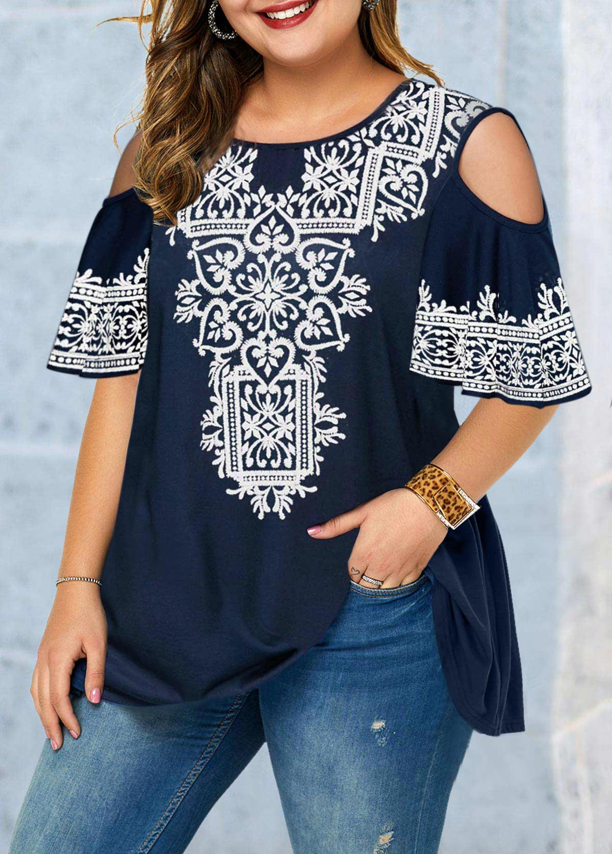 Cold Shoulder Plus Size Tribal Print Blouse