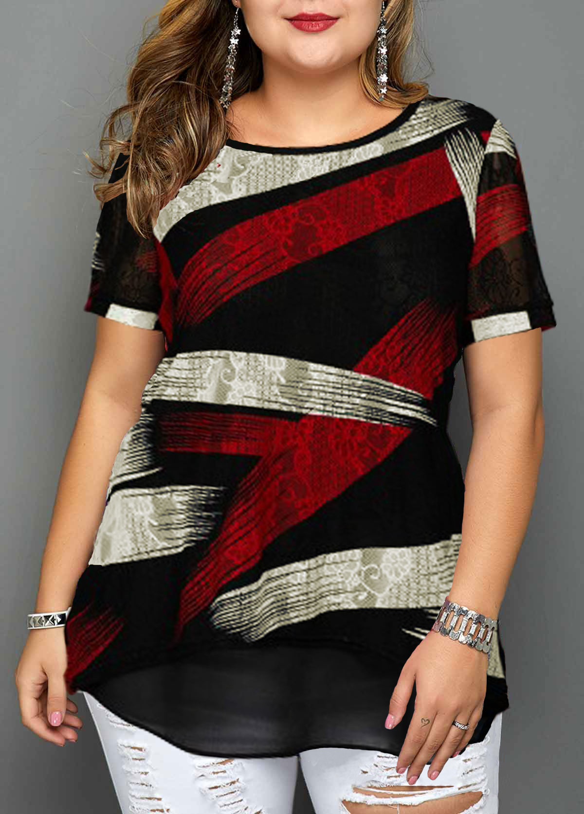 Short Sleeve Plus Size Geometric Print Blouse