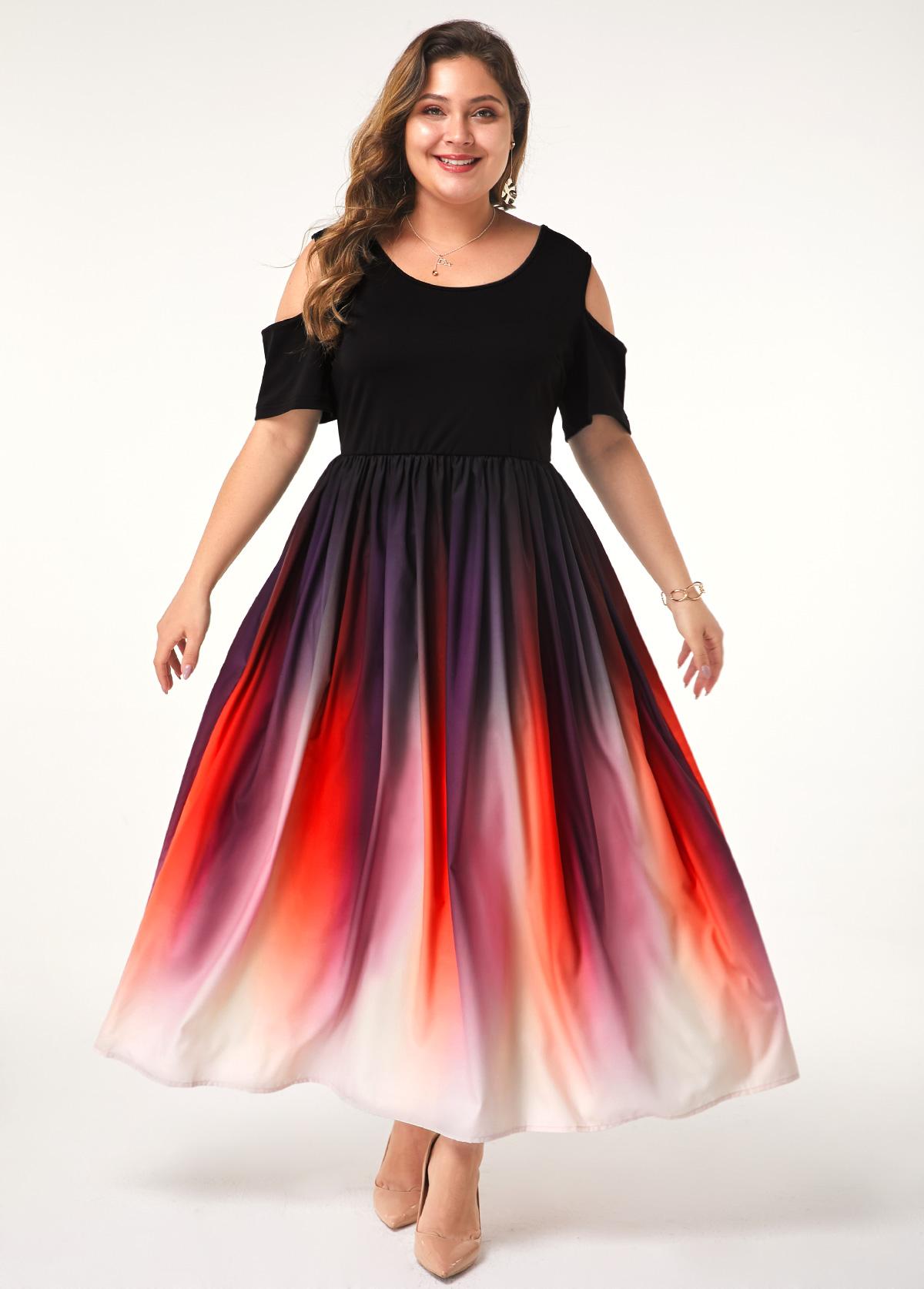 Plus Size Cold Shoulder Half Sleeve Gradient Dress