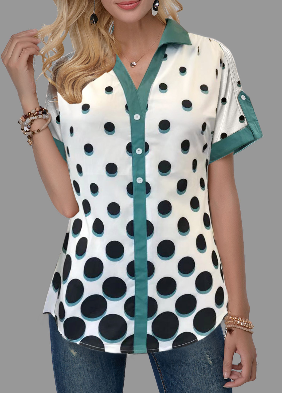 Roll Tab Sleeve Split Neck Polka Dot Print Blouse