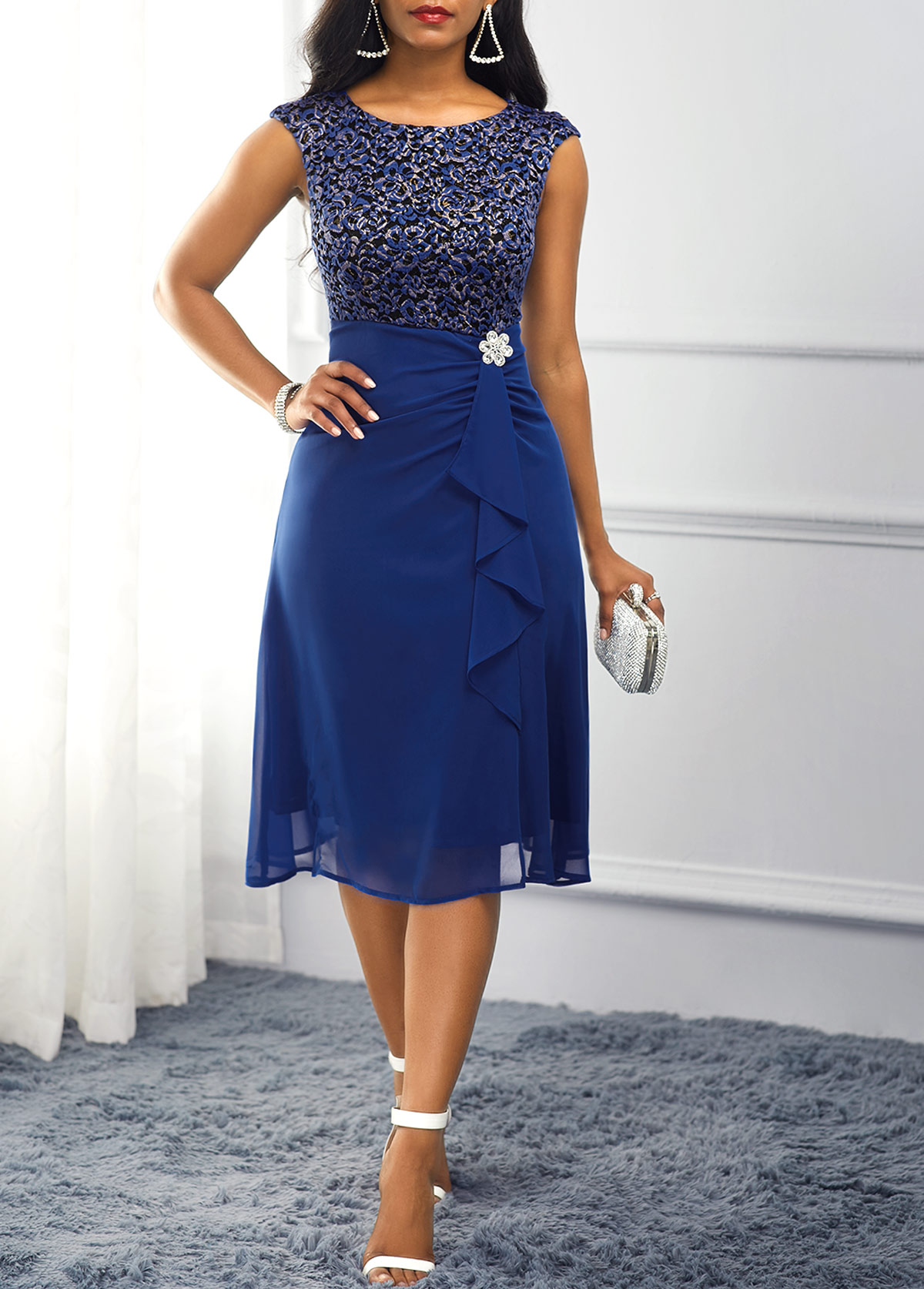 Rhinestone Embellished Royal Blue High Waist Dress