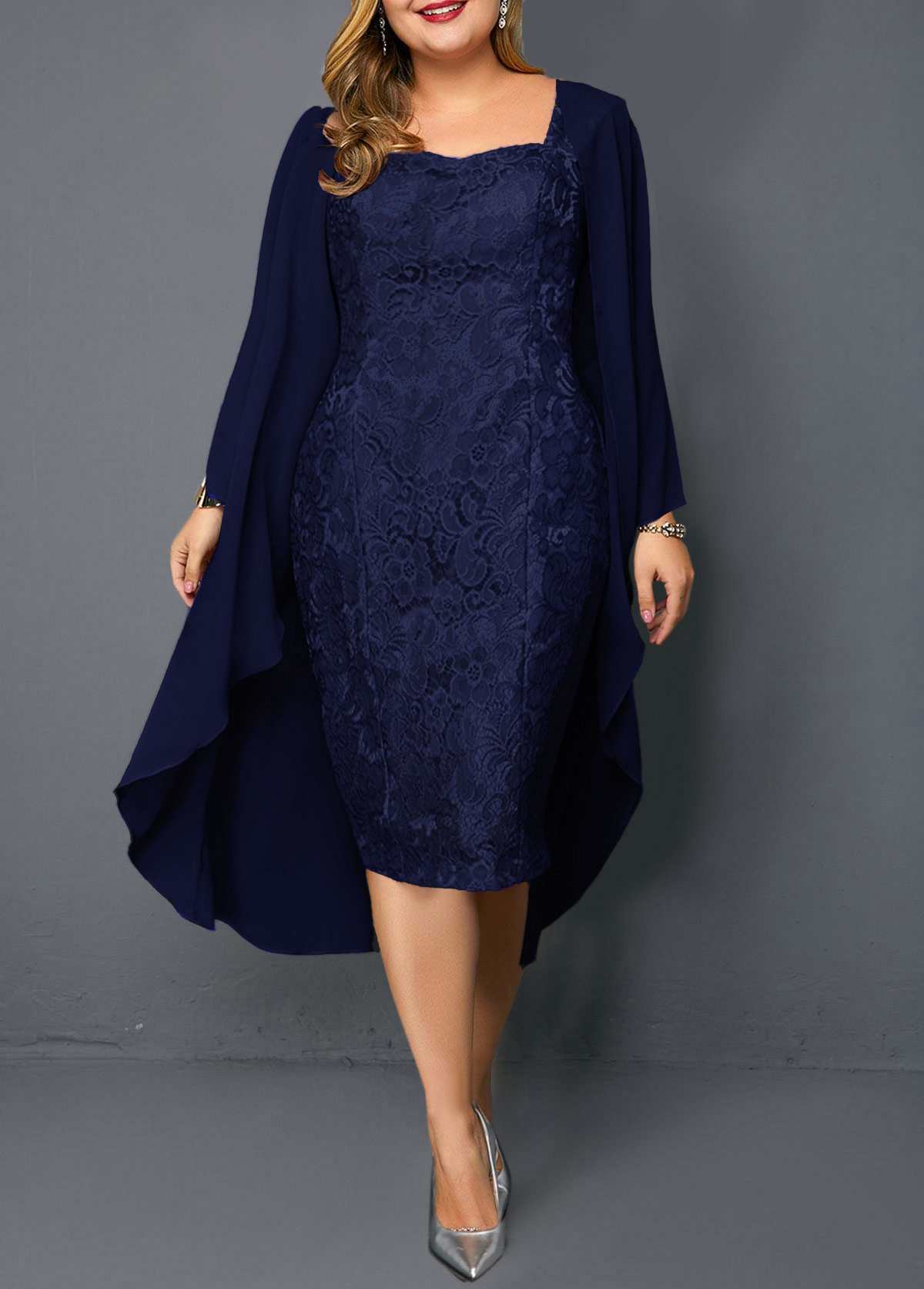 Plus Size Chiffon Cardigan And Navy Blue Lace Dress