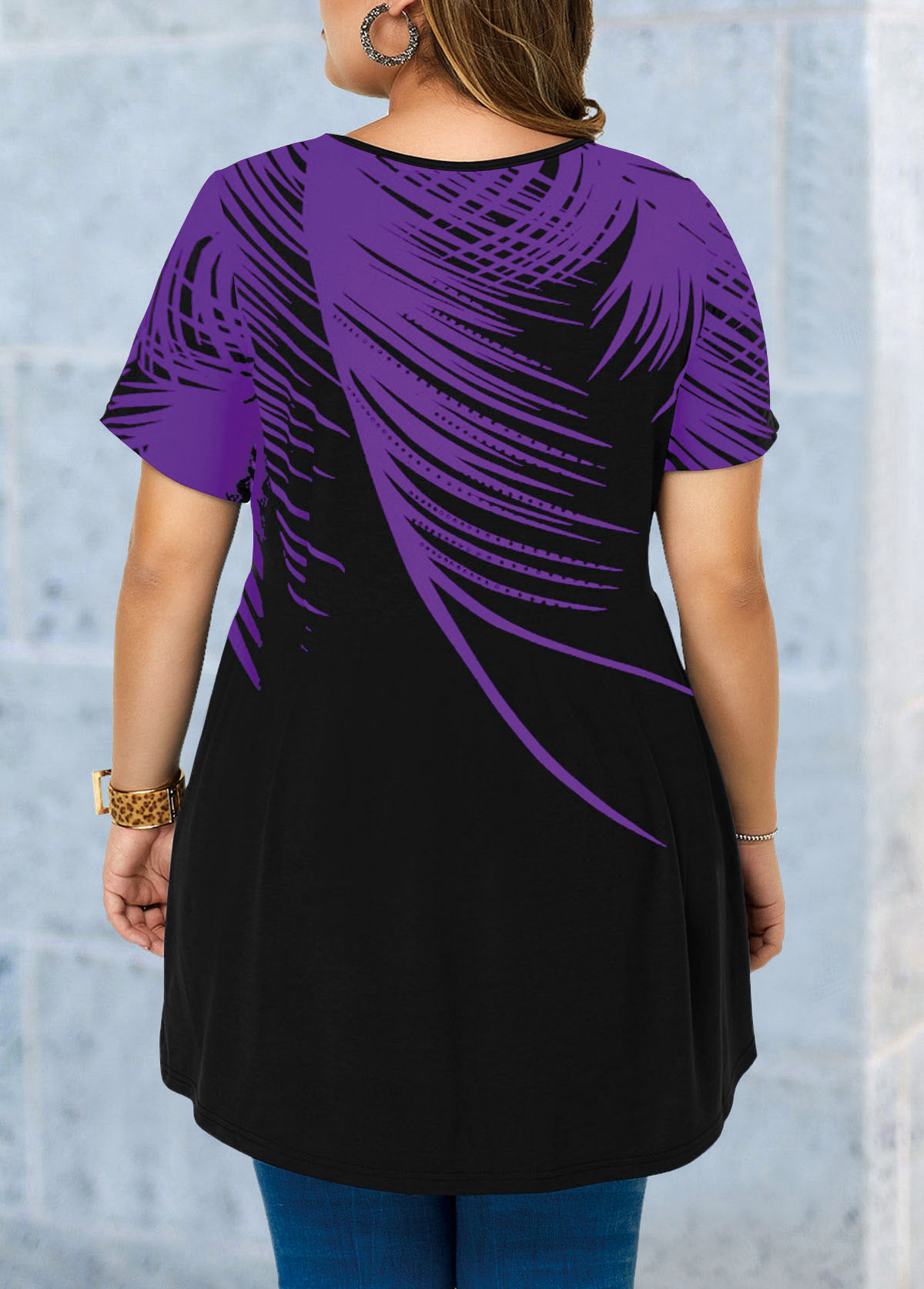 Asymmetric Hem Feather Print Plus Size Blouse