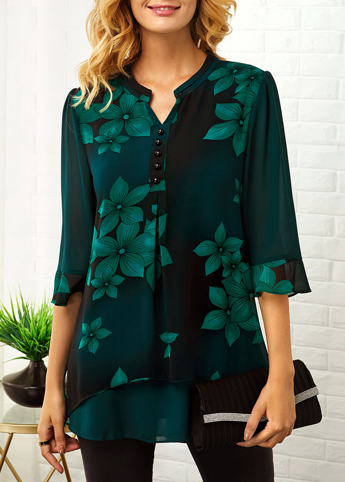 Button Detail Split Neck Large Floral Print Blouse