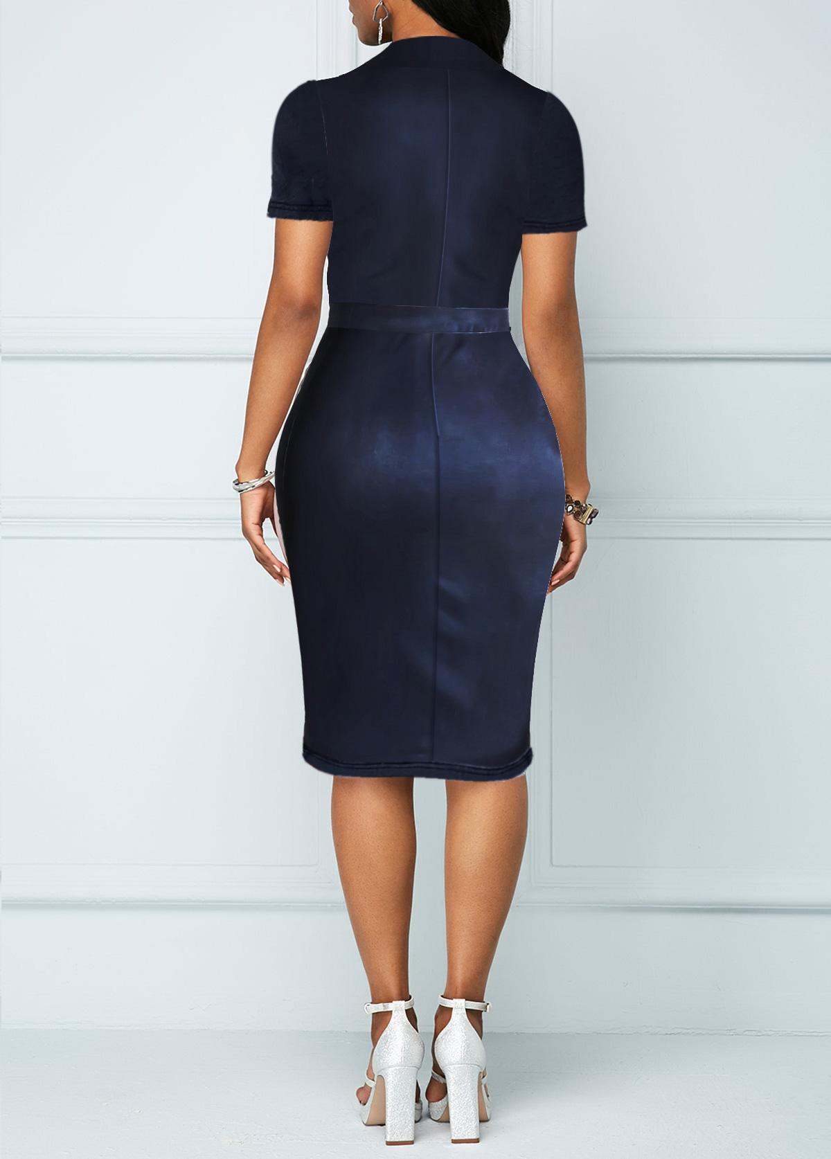 Turndown Collar Chest Pocket Button Up Denim Dress