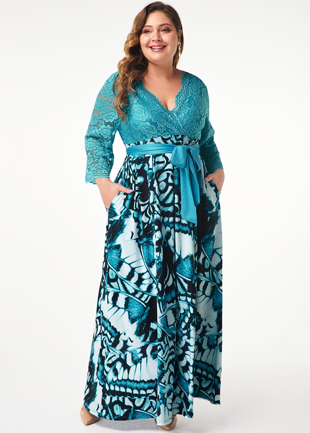 Belted Lace Panel Printed Plus Size Maxi Dress
