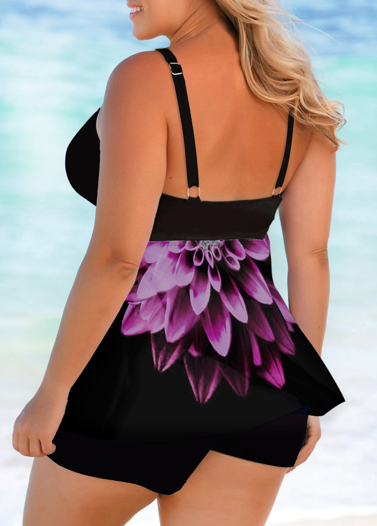 Bowknot Detail Printed Plus Size Swimdress and Shorts