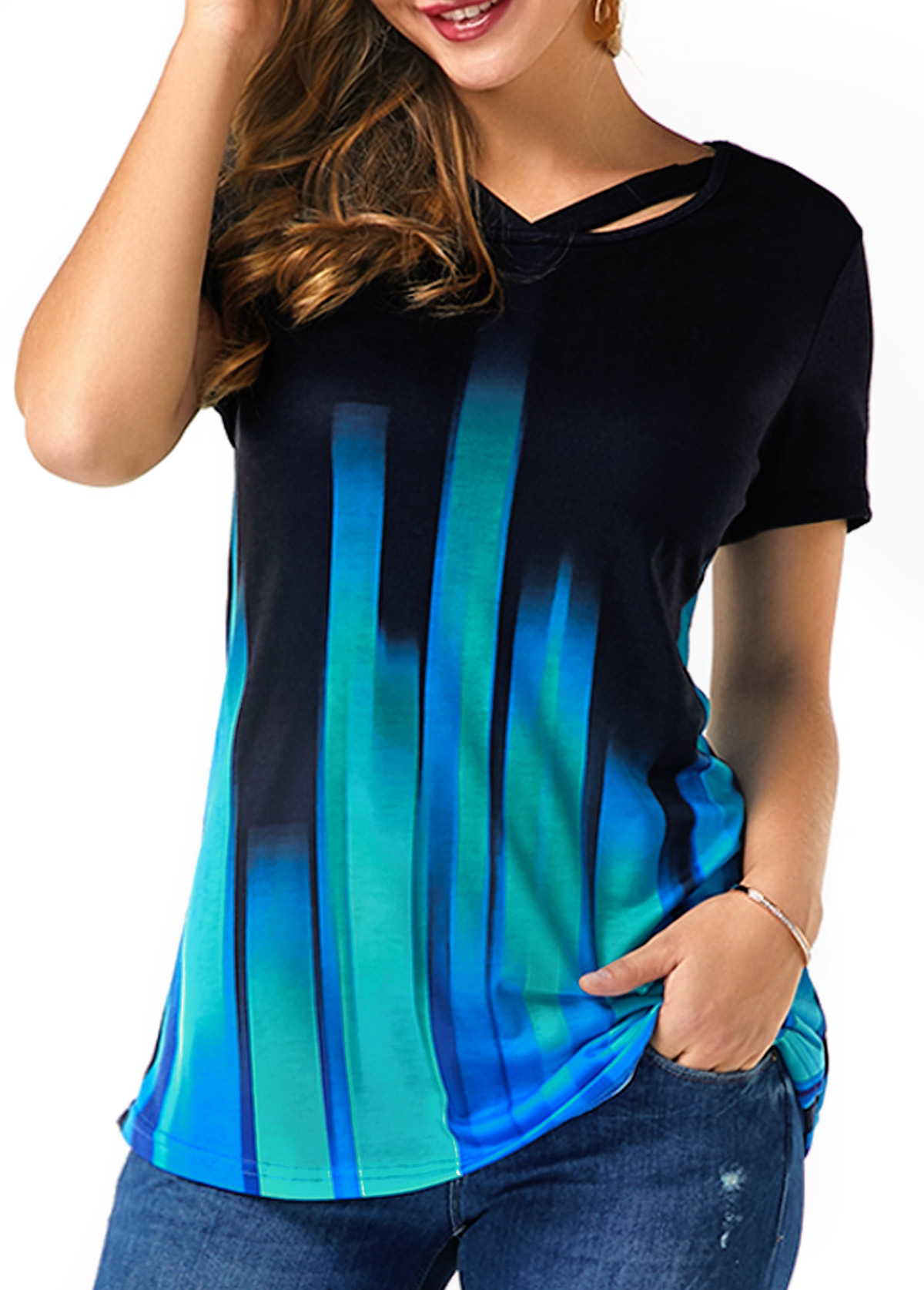 Cutout Neckline Short Sleeve Gradient T Shirt