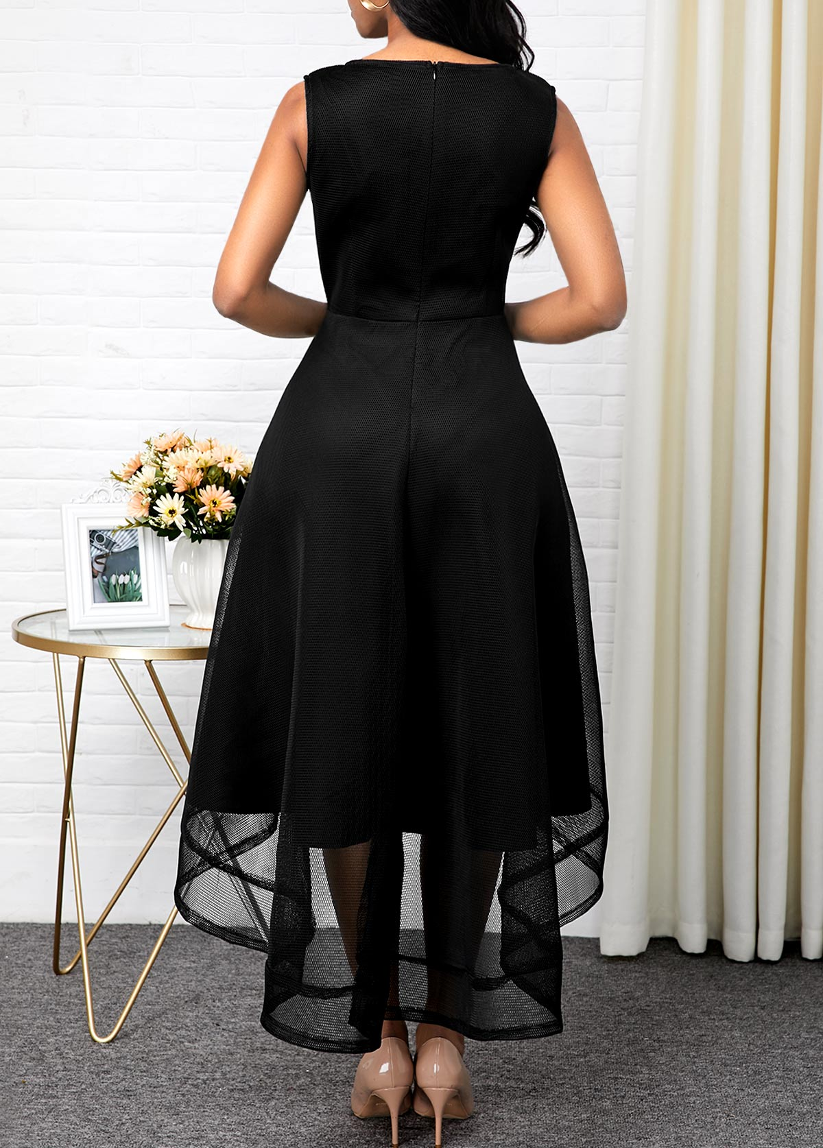 Sleeveless High Waist Mesh Patchwork Black Dress