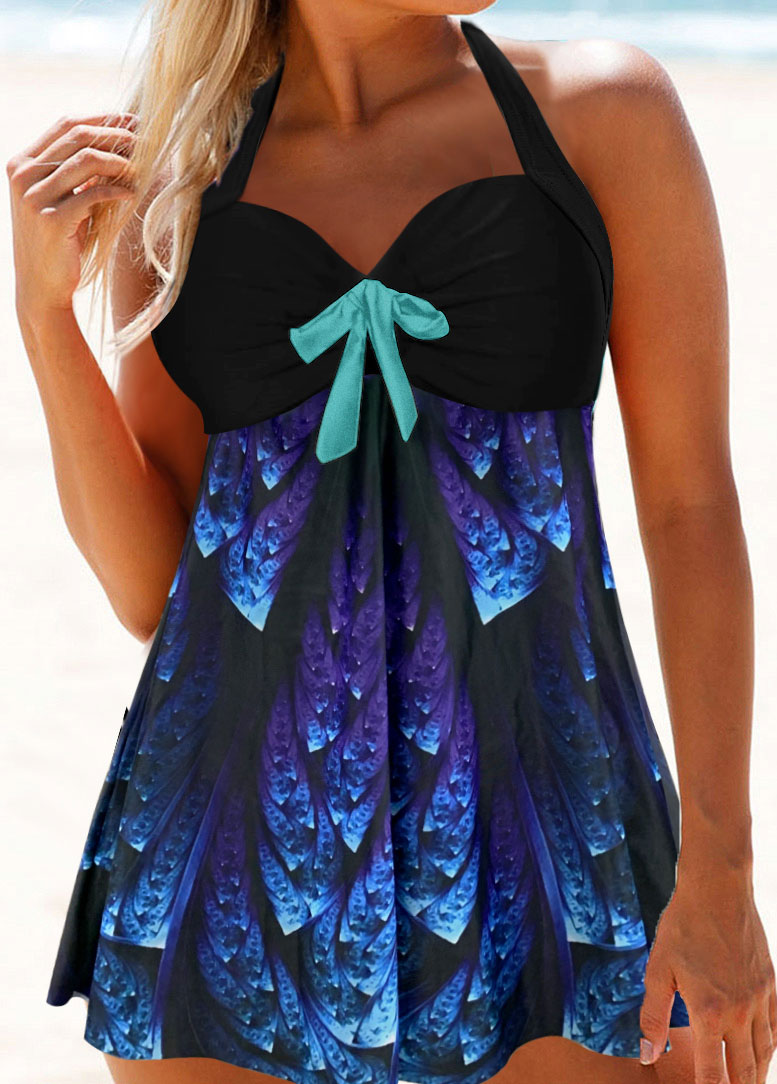 Printed Bowknot Halter Neck Embellished Swimdress and Panty