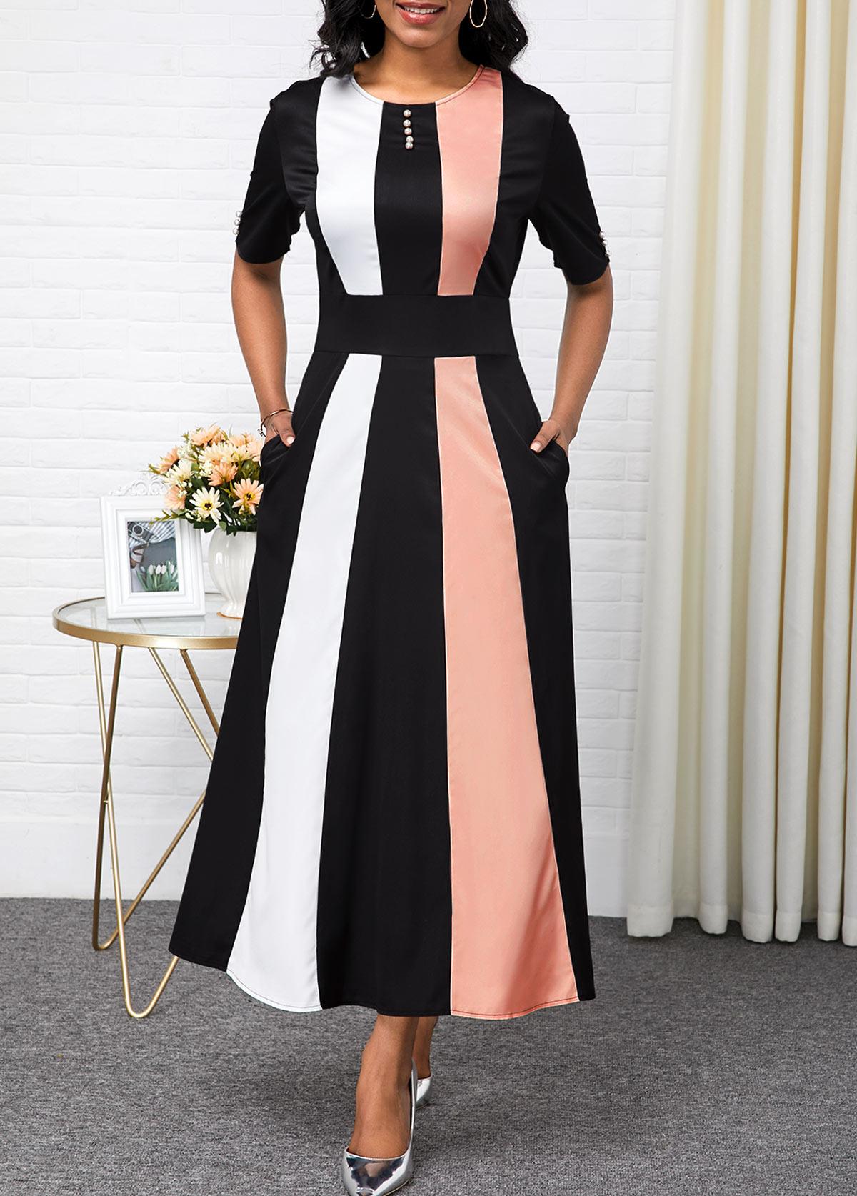 Color Block Button Detail High Waist Maxi Dress