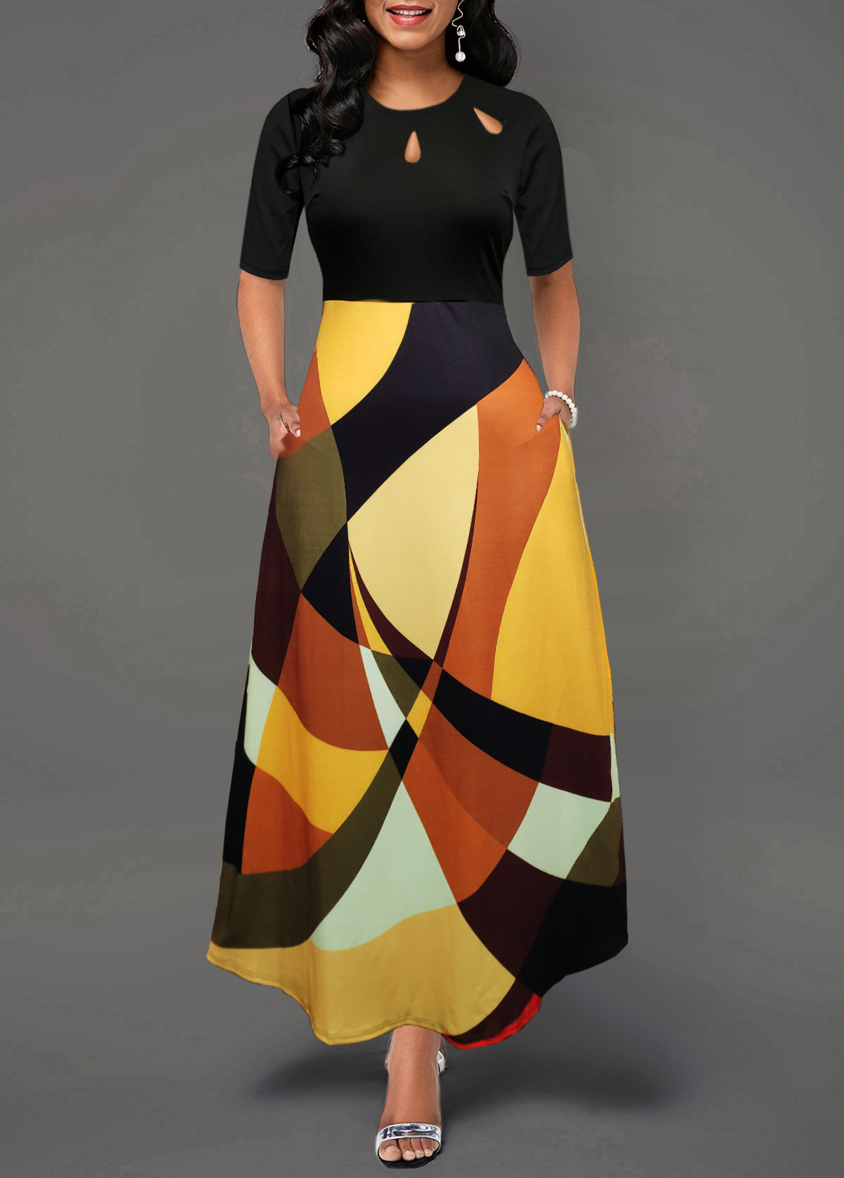 Pocket Geometric Print Half Sleeve Maxi Dress