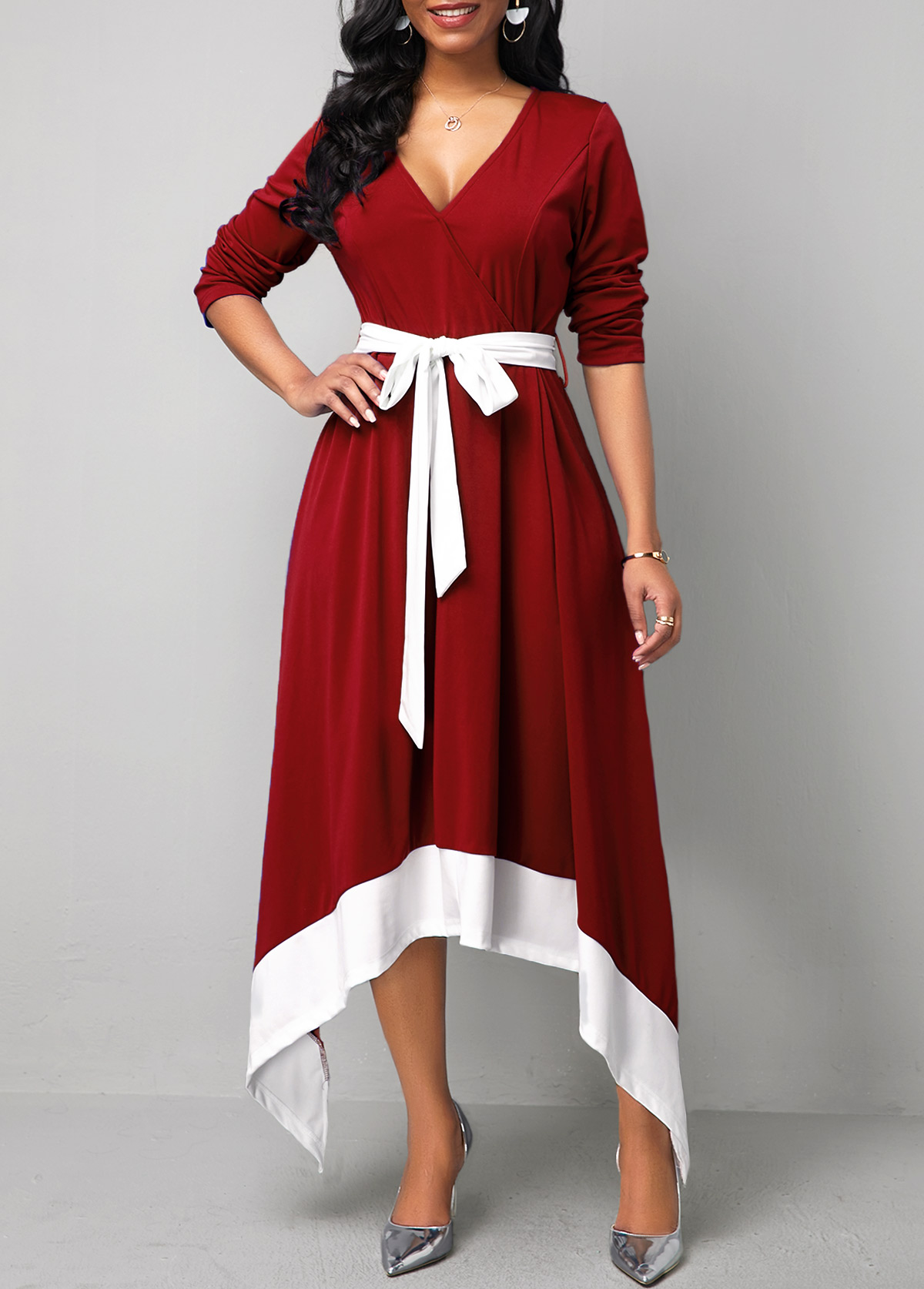 Asymmetric Hem Long Sleeve Belted Maxi Dress