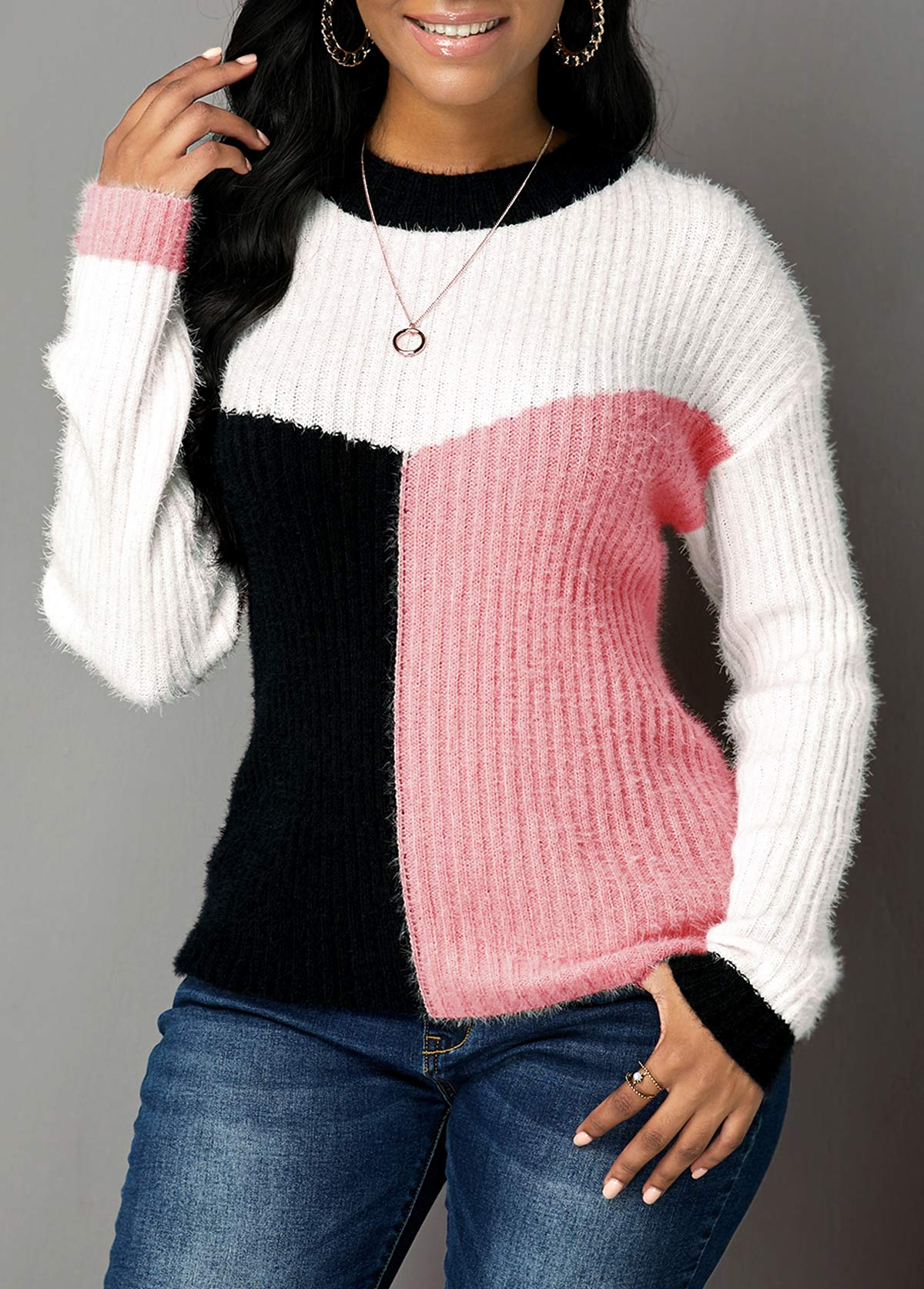 Pink Round Neck Long Sleeve Sweater