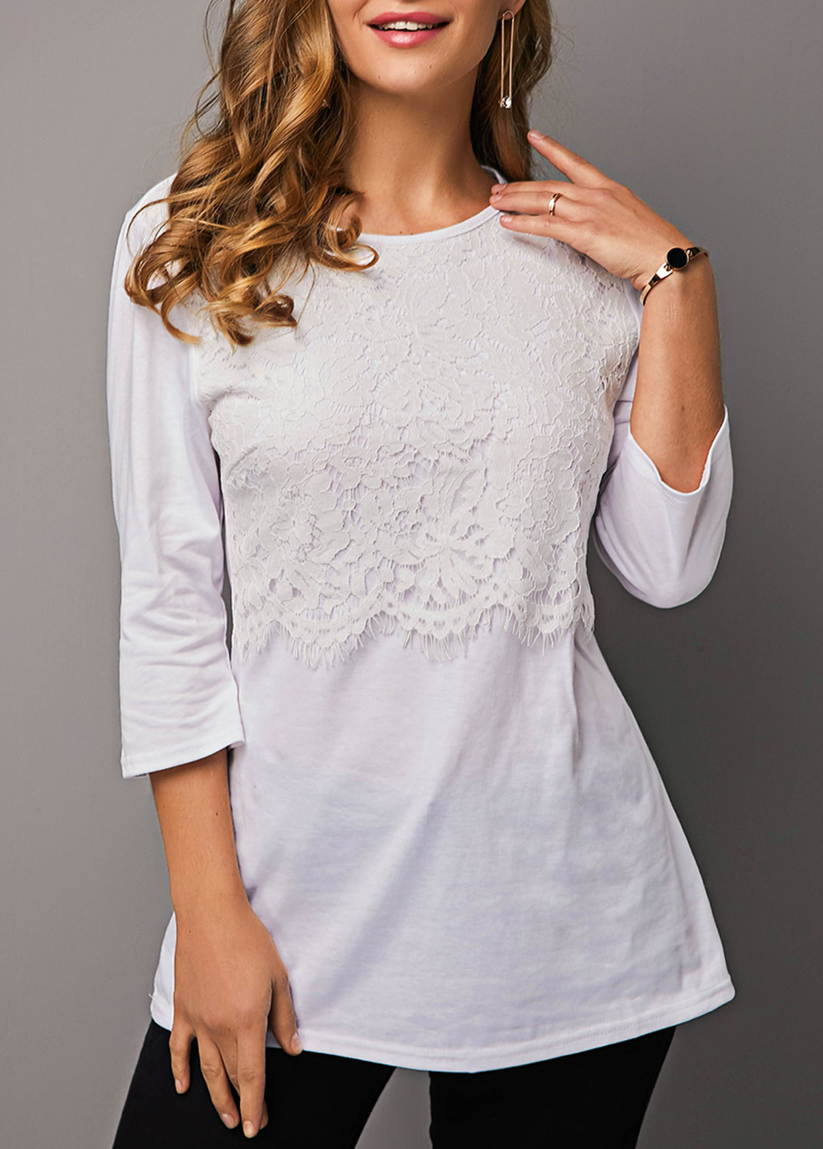 White Round Neck Lace Panel T Shirt