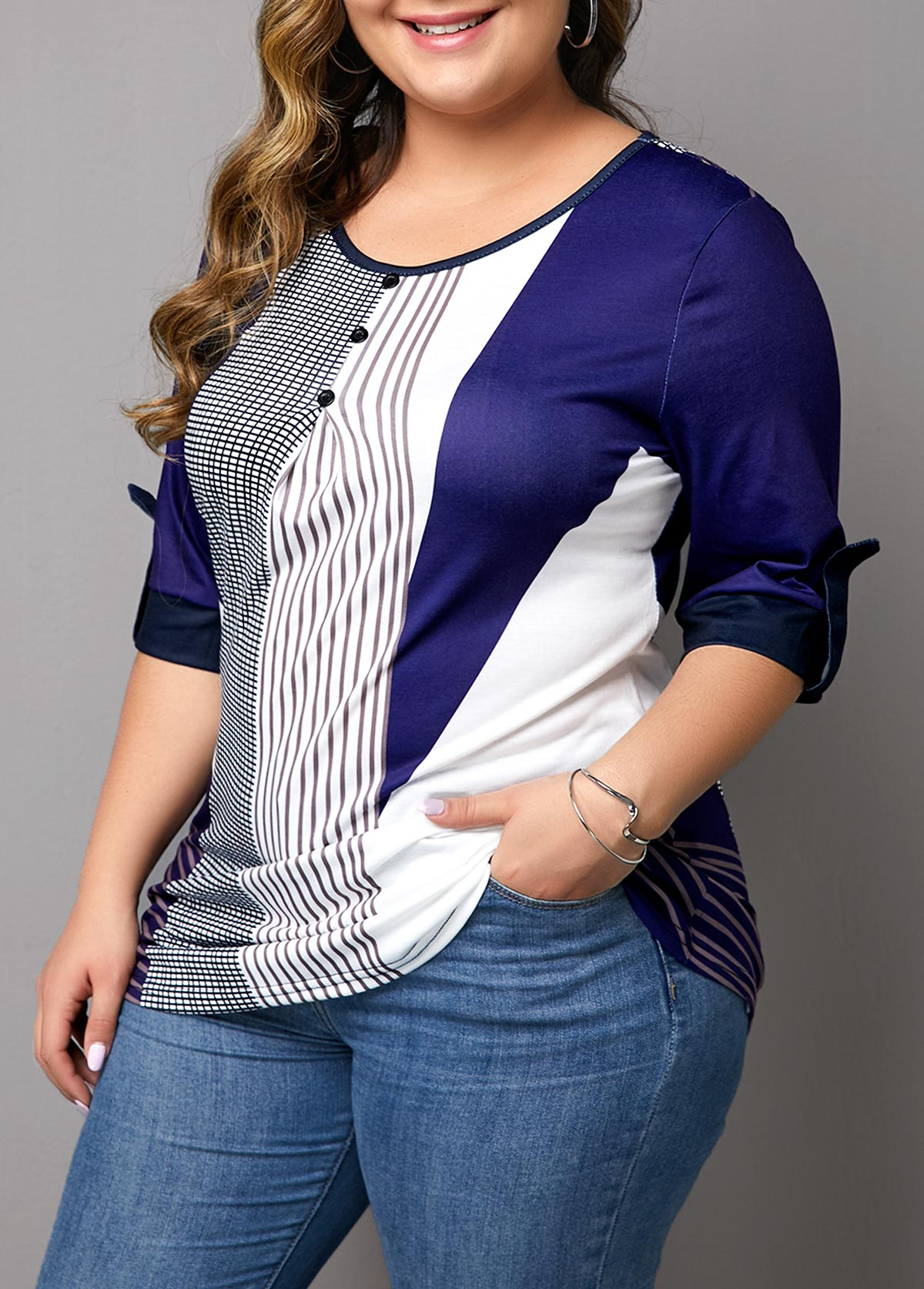 Button Detail Plus Size Stripe Print T Shirt