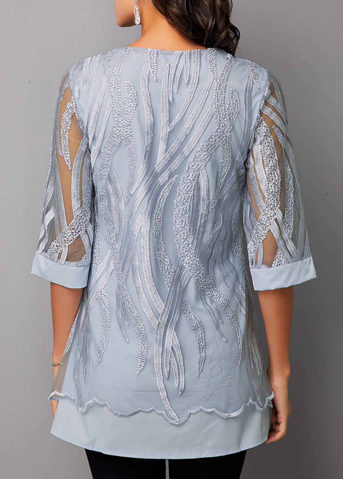 Faux Two Piece Half Sleeve Lace Panel T Shirt