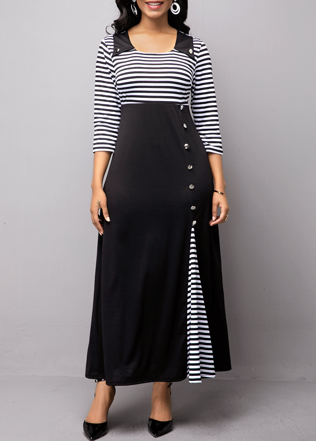 High Waist Button Detail Stripe Print Dress