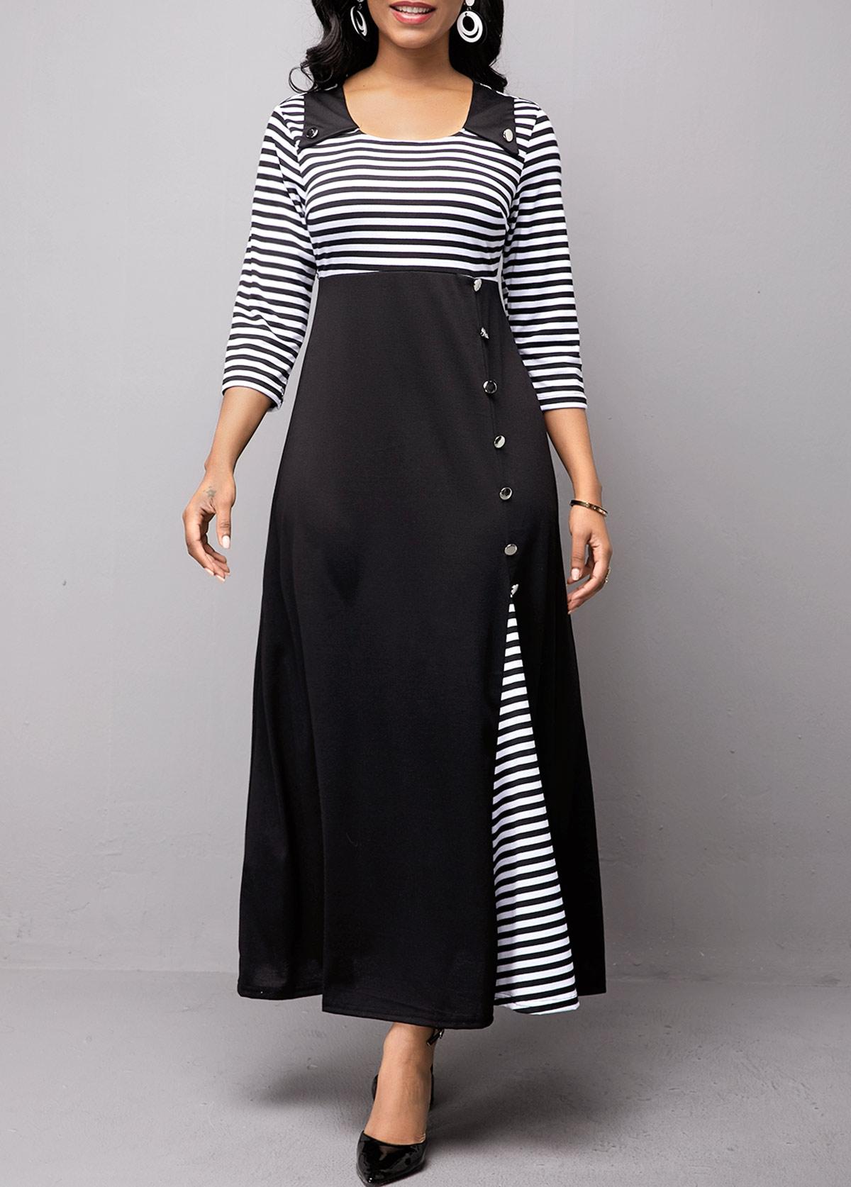 High Waist Button Detail Stripe Print Dress