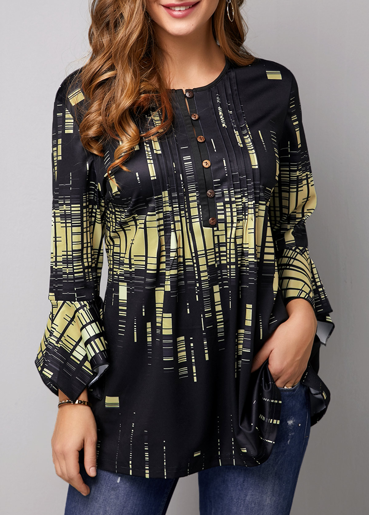 Printed Flare Cuff Button Front Blouse