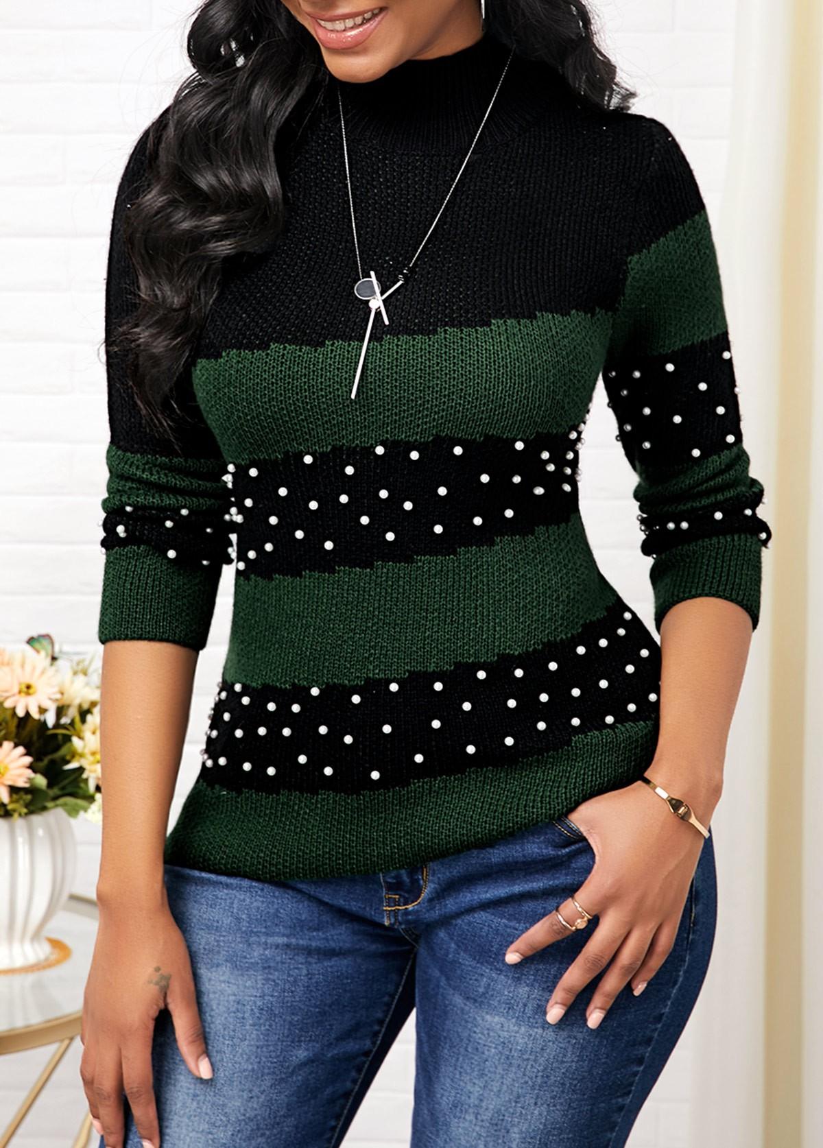 Color Block Mock Neck Bead Embellished Sweater