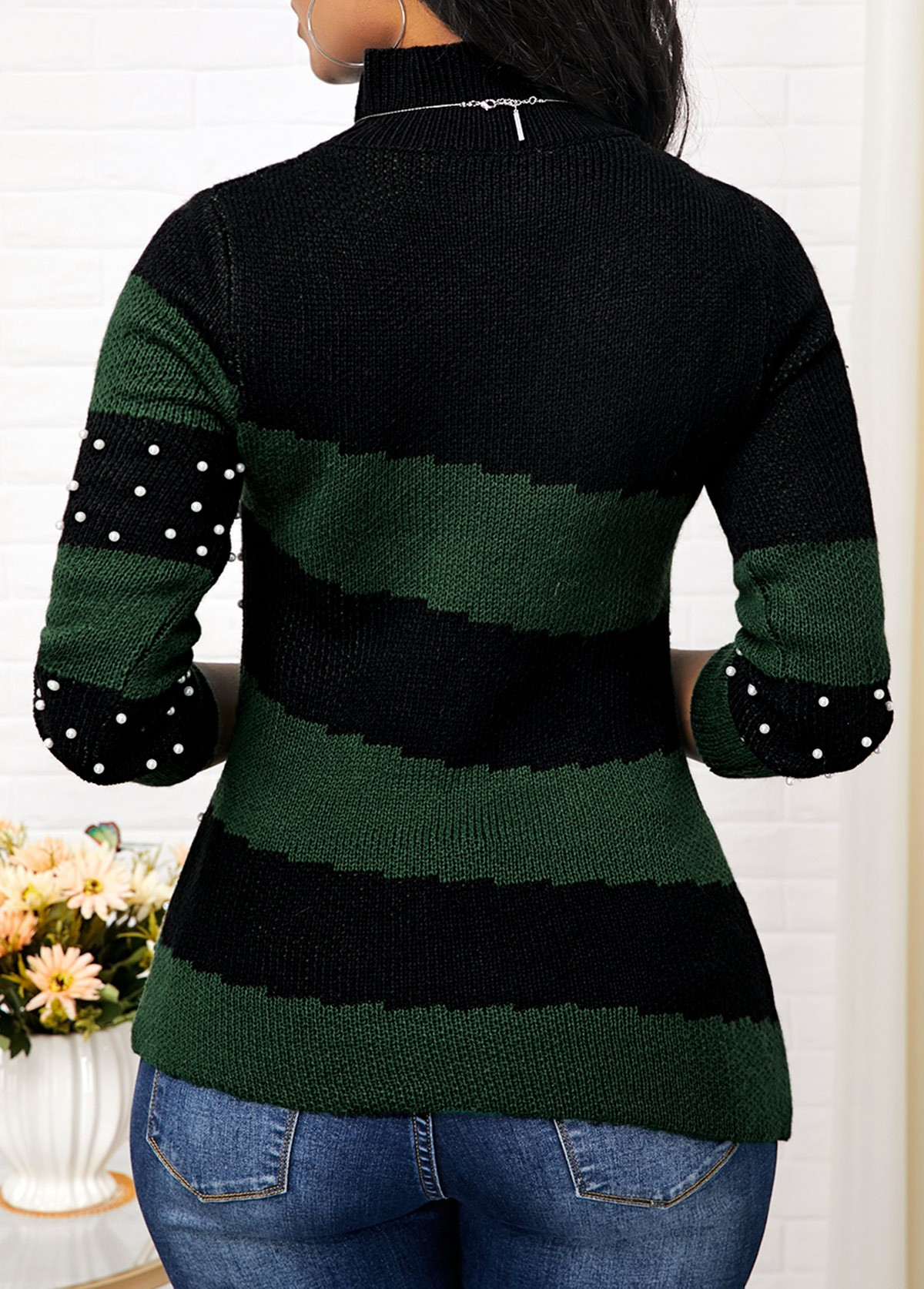 Color Block Mock Neck Bead Embellished Sweater