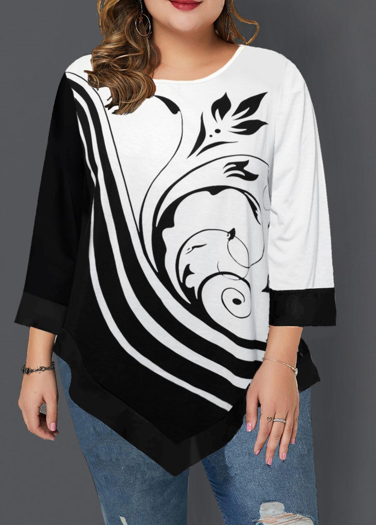 Asymmetric Hem Printed Plus Size T Shirt