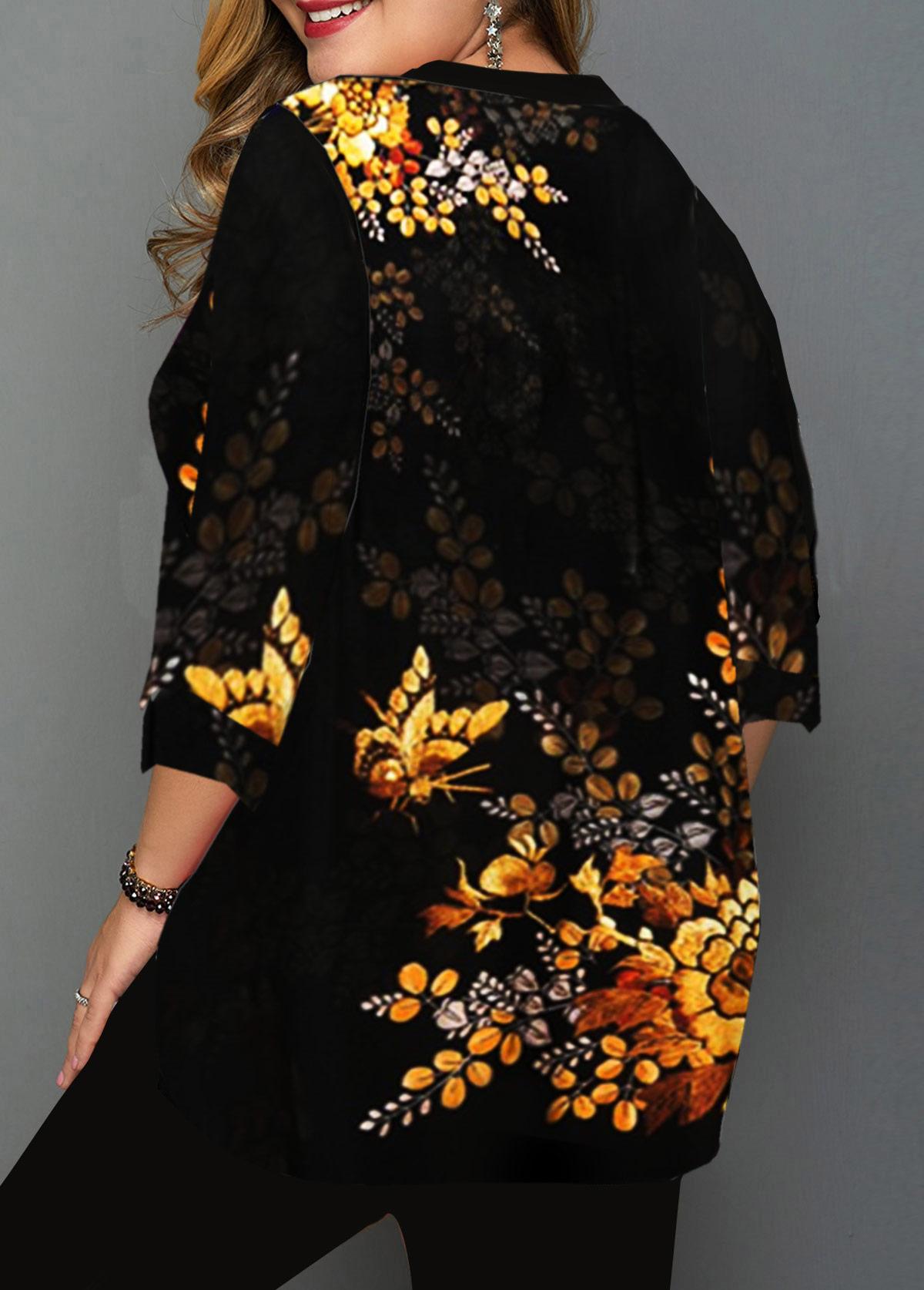 Plus Size Layered Hem Flower Print Blouse
