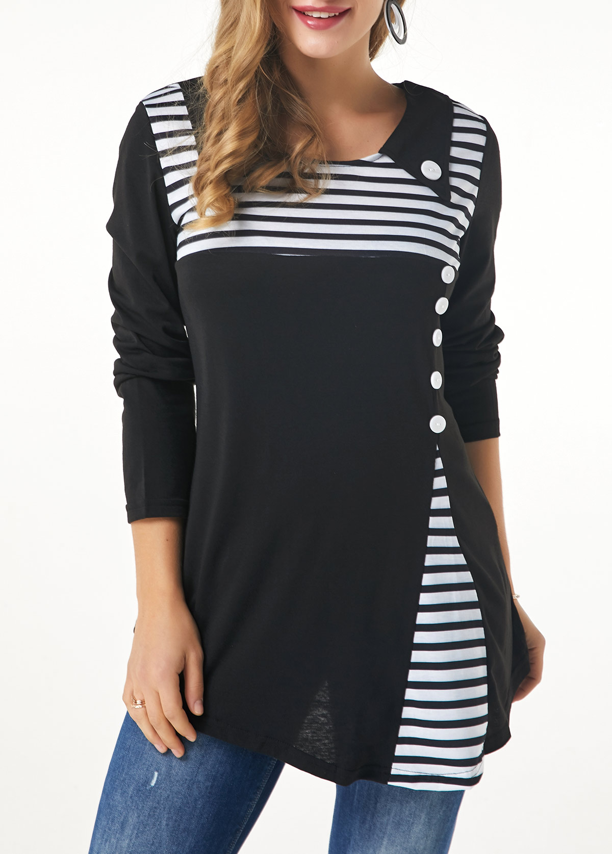 Scoop Neck Button Detail Stripe Print T Shirt
